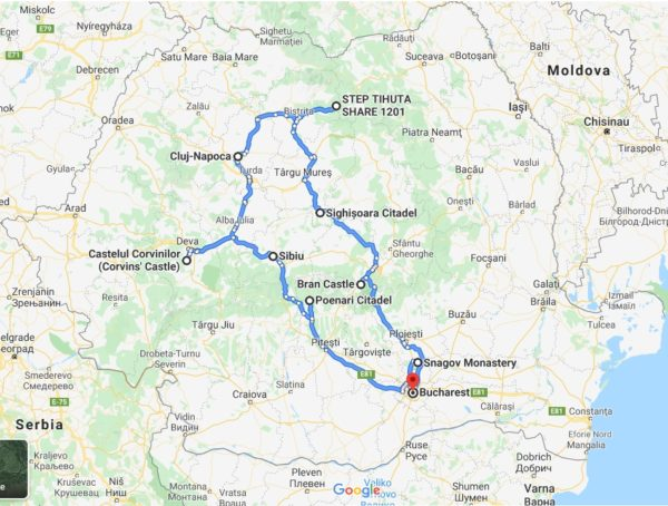 map of the Halloween in Romania awarded Dracula tour